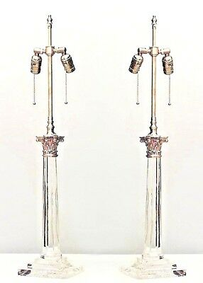 Pair of English Georgian Style Crystal Column Table Lamps (AS IS CHIPS TO BASES)