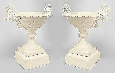 Pair of American Victorian Painted Cast Iron Outdoor Urns