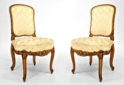 Pair of French Louis XV Style (19th Cent) Walnut Side Chairs
