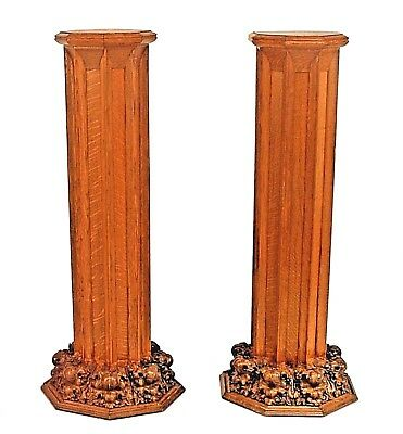 Pair of English Gothic Revival Style (19th Cent.) Oak Octagonal Pedestals