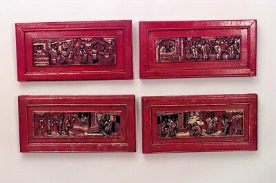 Asian Chinese Style (19th Cent) Red Lacquered and Gilt Trimmed Wall Plaques