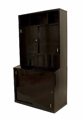 French Art Deco ebonized (2 section) bookcase cabinet with top section having sl