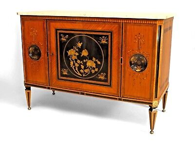Continental Dutch (late 18th Cent) satinwood & inlaid commode with 2 round decor