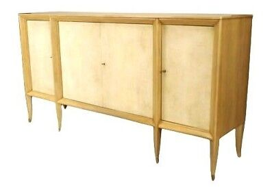 French 1940s Bleached Sycamore Wood Sideboard with 4 Parchment Veneered Doors