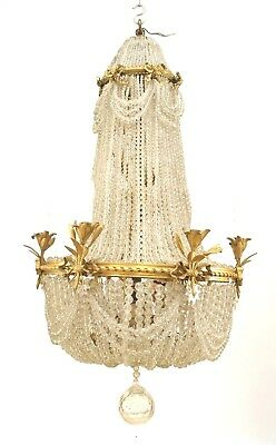 French Victorian (19/20th Cent) Beaded Crystal Chandelier