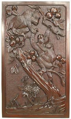 Asian Chinese Style (19th Cent) Carved Wall Plaque with Monkeys Playing in Trees