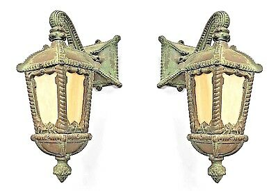 Pair of American Victorian Green Patinaed Iron Outdoor Wall Sconce