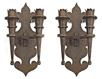 Pair of American Renaissance Revival Style Wrought Iron Wall Sconces