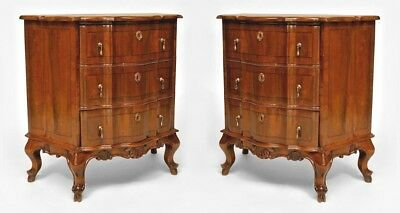 Pair of Italian Venetian (19th Cent) Walnut Bombe Shaped Bedside Commodes