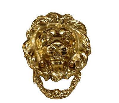 2 English Georgian style (modern) brass lions head door knockers (PRICED EACH)