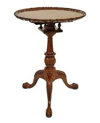 English Georgian style (20th Cent) mahogany round scalloped design tilt top end