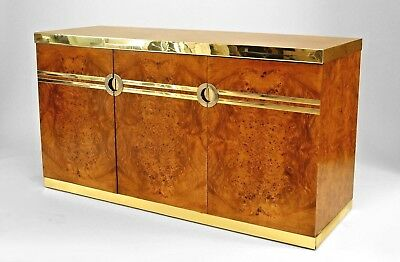 1970's French burl walnut buffet with 3 doors and brass trim to top and bottom w