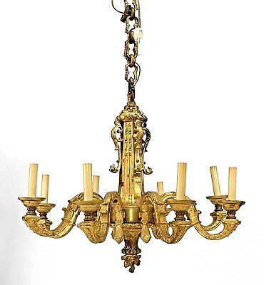 French Louis XVI Style (19th Cent) Gilt Bronze Chandelier with 8 Scroll Form Arm