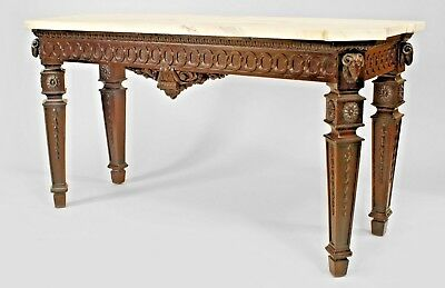 English Adam Style (19th Cent) Mahogany Carved Console Table