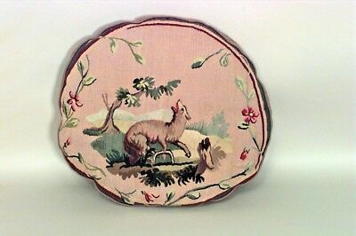 French Victorian Aubusson Oval Shaped Cushion with Wolf