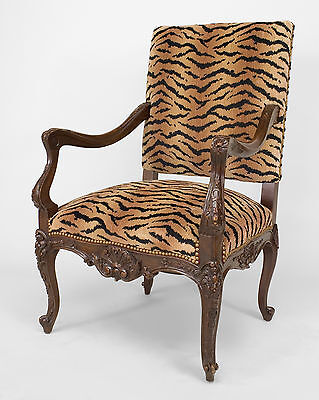 French Regency Style (19th/20th C) Carved Walnut Open Arm Chair with Faux Tiger