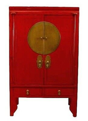 Asian Chinese Style (19/20th Cent.) Red Lacquered Two Door Armoire Cabinet