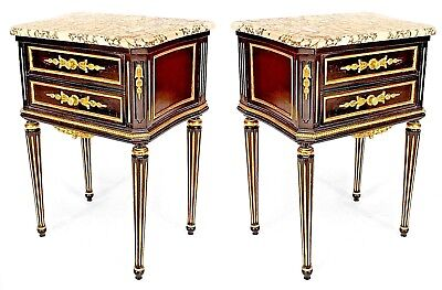 Pair of French Louis XVI Style (20th Cent.) Ebonized Bedside Commodes