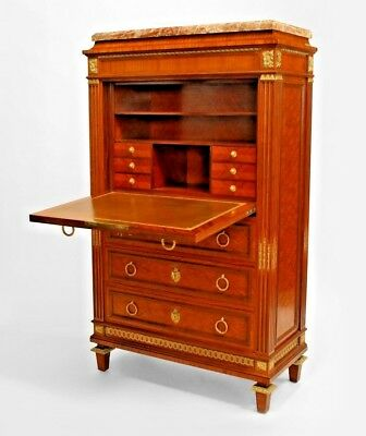 French Louis XVI Style (19th Cent) Parquetry Inlaid Drop Front Secretary