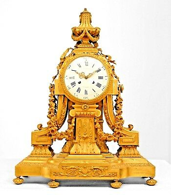 French Louis XVI Style (19th Cent) Gilt Bronze Mantle Clock