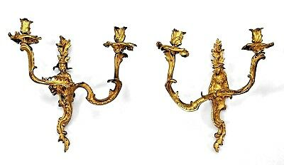 Pair of French Louis XV style (20th Cent) bronze 2-arm wall sconces