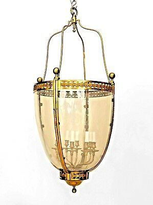 French Louis XVI style (20th Cent.) Bronze Dore Tapered Shaped Hanging Lantern