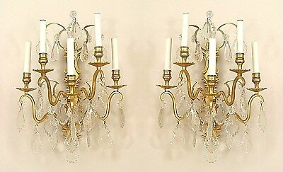 Pair of French Victorian Style (20th Cent) Gilt Bronze and Crystal Wall Sconces