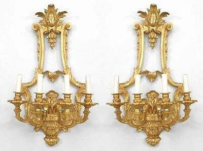 Pair of French Louis XV style (20th Cent) gilt bronze 4 arm wall sconces