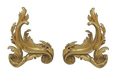 Pair of French Louis XV Style (19th Cent) Bronze Chenets (Andirons)