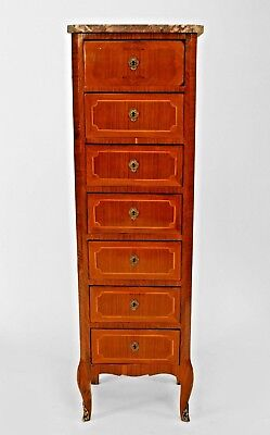 French Victorian narrow walnut and inlaid semanier (7 drawer) chest with a marbl