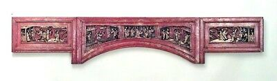 Asian Chinese Style (19th Cent.) Red Lacquer and Gilt Trimmed Wall Carving