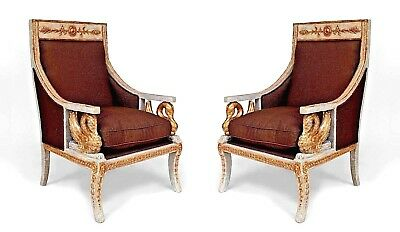 Pair of Italian Neo-Classic (18/19th Cent) Silver Gilt Bergere Chairs