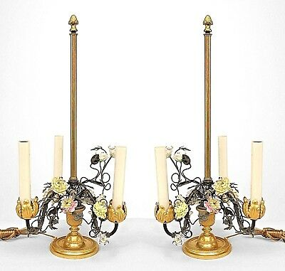 Pair of French Victorian (19/20th Cent) Three-Light Lamps with Metal Foliate Arm