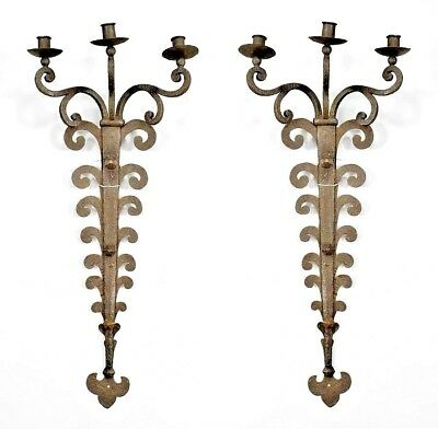 Pair of Italian Renaissance Style (20th Cent.) Wrought Iron Sconces