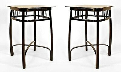 Pair of Bentwood Vienna Secession (1905) ebonized beech wood square end tables