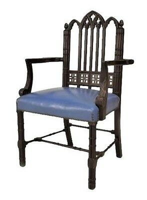 English Chinese Chippendale Style Mahogany Arm Chair
