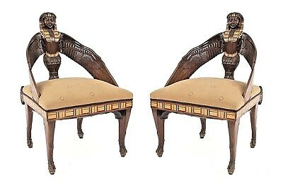 Pair of Middle Eastern Egyptian Style (19th Cent English) Mahogany Chairs