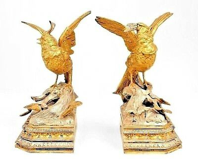 Pair of French Victorian Silver & Gilt Plated Metal Birds (Bookends)