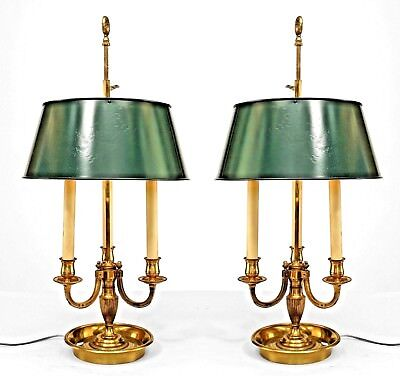 Pair of French Victorian (20th Cent) Brass 3 Light Bouillotte Lamps