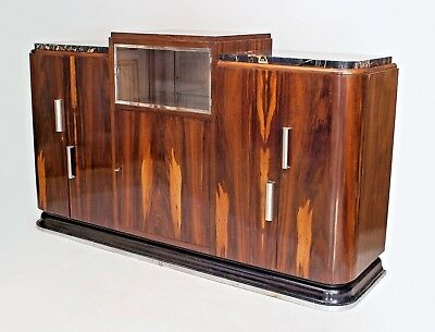 French Art Deco Rosewood Sideboard with a Raised Center Platform