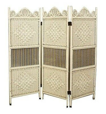 American Victorian white painted 3 fold screen with a shaped open pediment and c