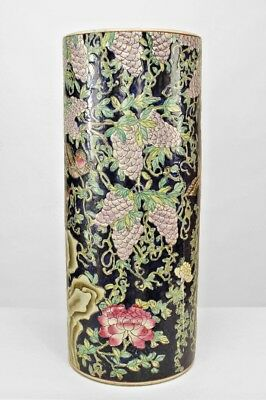 Asian Chinese Porcelain Cylindrical Shaped Umbrella Stand
