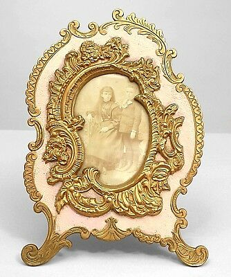 American Victorian Rococo Style Gilt and Pink Painted Metal Easel Picture Frame