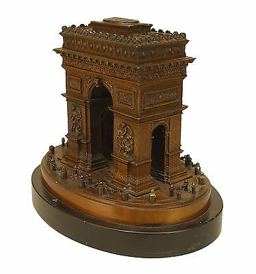 French (19/20th Cent) bronze model of the Arc de Triomphe raised on an oval blac