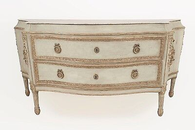 Italian Neo-classic (18th Cent) Light Blue Painted Monumental Commode