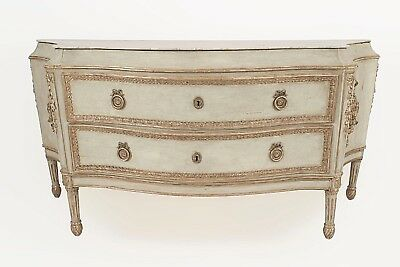 Italian Neo-classic (18th Cent) light blue painted monumental commode with silve