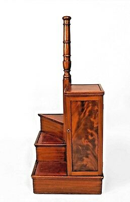 English Regency mahogany library ladder with spiral steps and a central pillar s