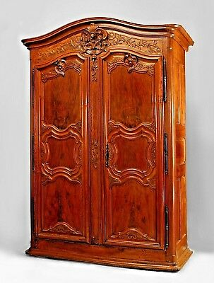 French Provincial (18th Cent) Walnut Two Door Large Scale Armoire