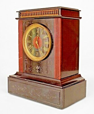 French Victorian Black Marble Mantel Clock with Rosso Antic Marble Column Sides