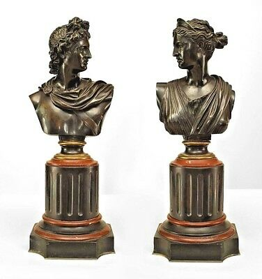Pair of French Victorian Bronze Busts of Apollo and Diana Mounted on a Marble